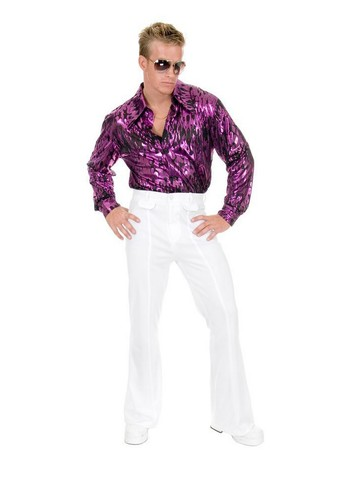 Flame Hologram Disco Shirt Mens Plus Size (Purple)