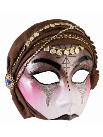 Fortune Teller Brown Scarf Half Mask