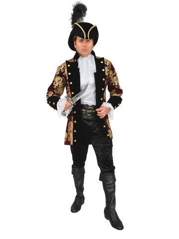 French Pirate Mens Costume (Wine)
