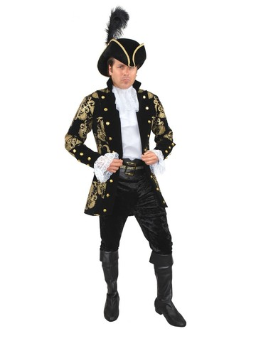 Mens French Pirate Captain Plus-Size Jacket (Black)