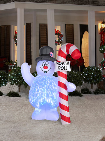 Frosty Hugging North Pole Sign Projection Light Airblown Lawn Decor