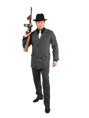 Mens Black Gangster Suit