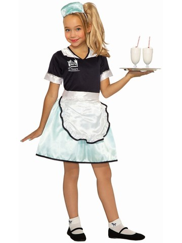 1950's Diner Waitress Costume for Girls