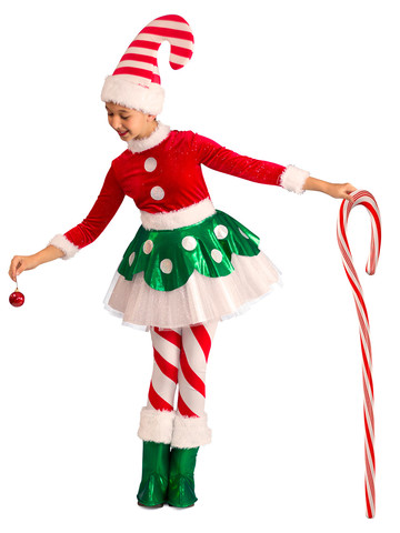 Christmas Princess Candy Cane Elf Girls Costume
