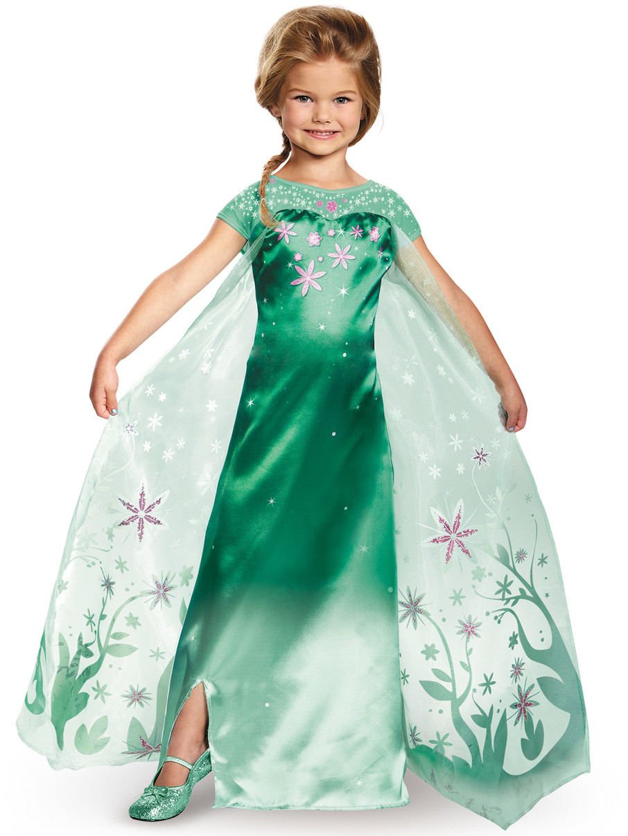 View larger image of Girls Elsa Frozen Fever Deluxe Costume