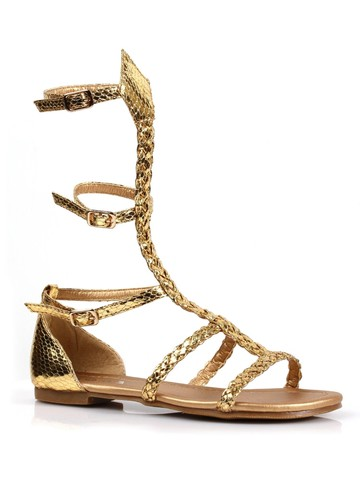 Girl's Gladiator Flat Gold Sandal