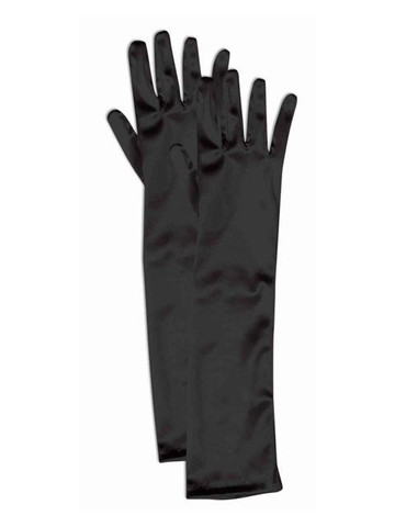 Girls Long Black Satin Gloves