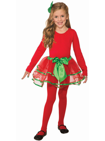 Green and Red Girls Christmas Tutu
