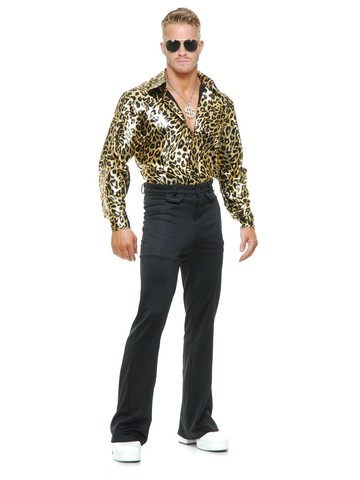 Men's Gold Leopard Disco Shirt