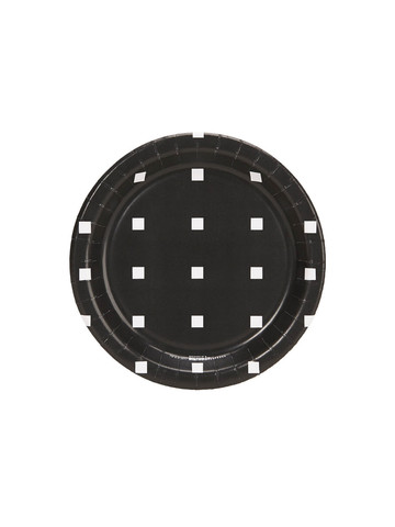 Halloween Black and White Square Dot Dessert Plate (8)