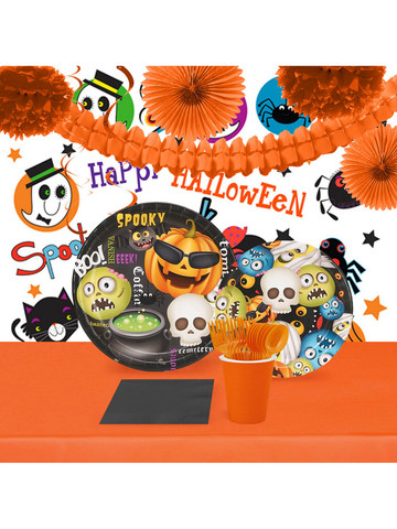 Halloween Emoji 16 Guest Tableware Room Decoration Kit