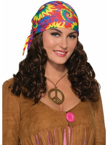 Hippie Wig With Headscarf for Adults