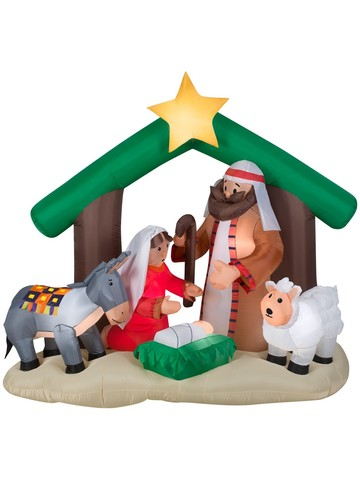 Airblown 6 Ft Holy Family Nativity Scene Decoration