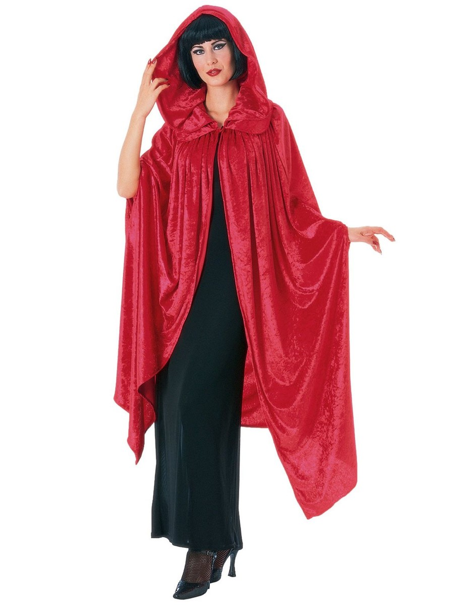 View larger image of Hooded Crushed Red Velvet Cape Adult Costume