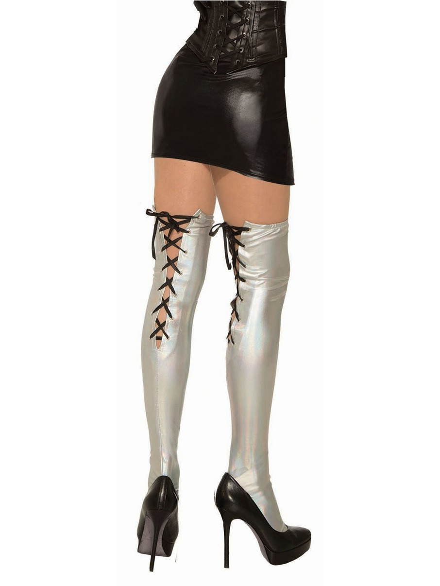 View larger image of Silver Holographic Midnight Menagerie Thigh-Highs