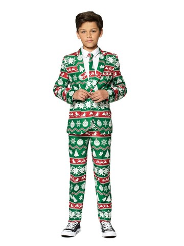 Opposuits Kids Christmas Green Nordic Christmas Suit