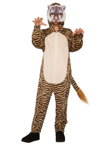 Kid's Tiger Halloween Costume Jumpsuit and Mask