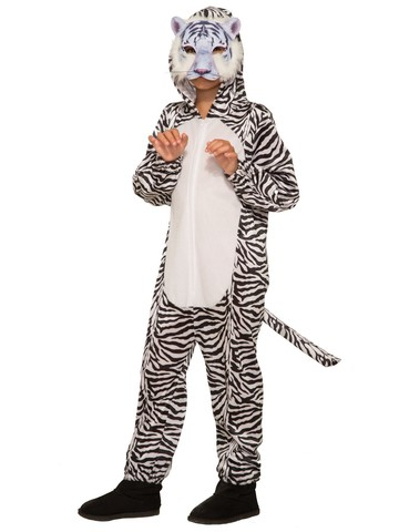 Kid's White Tiger Halloween Costume Jumpsuit and Mask