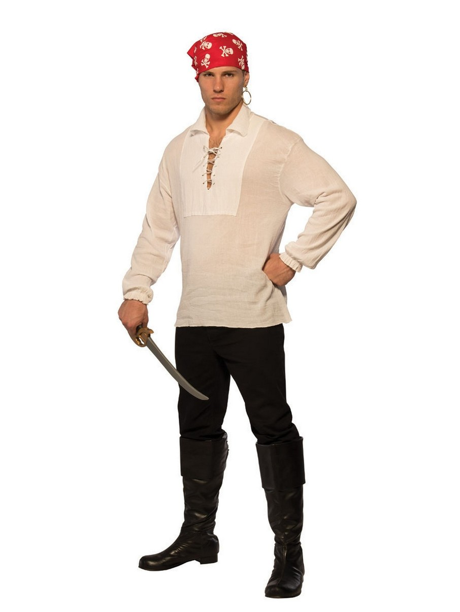 View larger image of Lace-Up Pirate Shirt Adult Costume