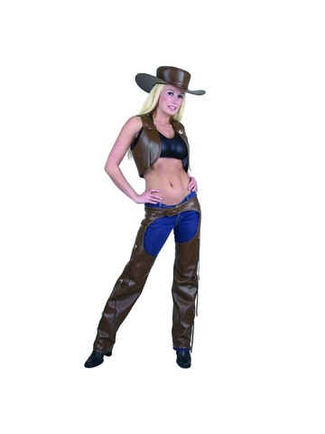 Ladies Full Chaps & Vest for Adults (Brown)