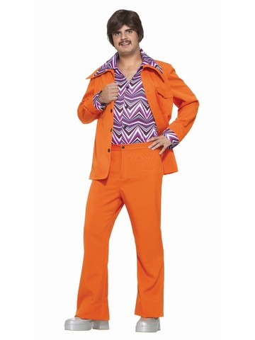 Orange Leisure Suit Mens Costume