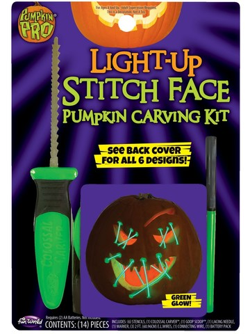 Pumpkin Carving Kit - Light Up Green Stitch Face