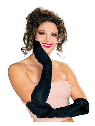 Extra Long Gloves in Black