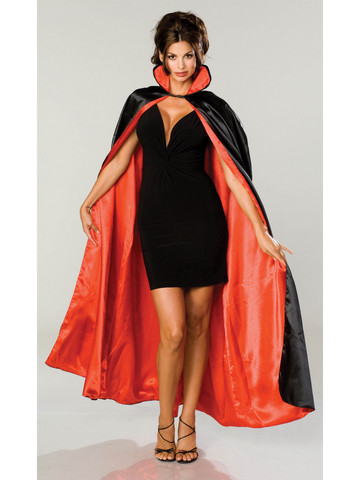Long Black Satin Cape