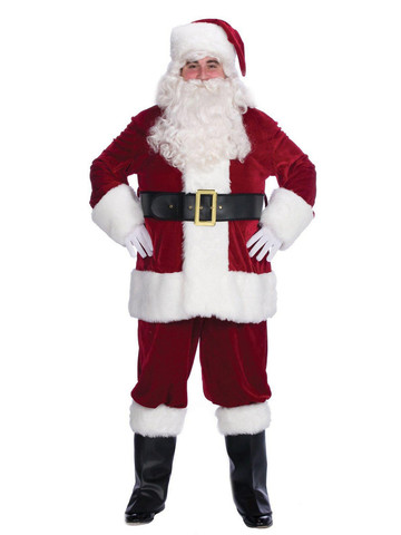 Mens 6 Piece Velvet Complete Santa Suit Set