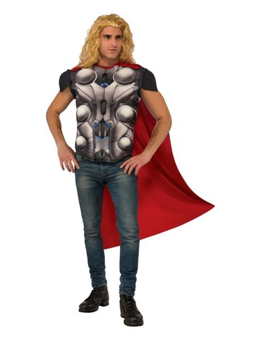 Adult Muscle Chest Thor Costume Top and Cape - Avengers: Age of Ultron