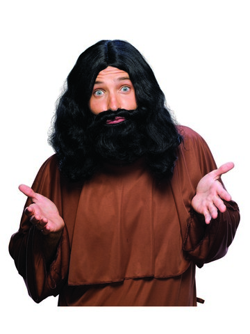 Biblical Black Mens Beard and Wig Set