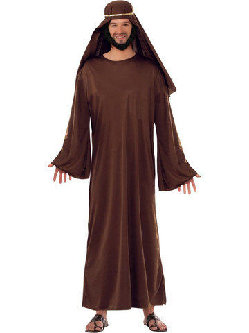Mens Brown Biblical Robe with Headdress Costume