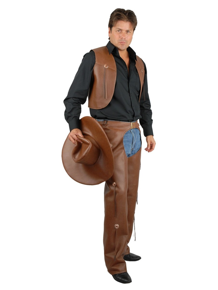 View larger image of Mens Brown Chaps and Vest (Leather)