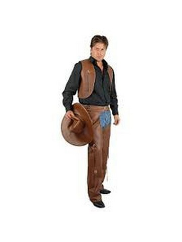 Faux Leather Vest And Chaps Set - Adult Costume Kit - Black