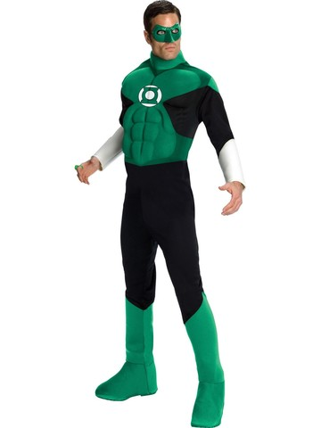 Mens Deluxe Muscle Chest Green Lantern Costume
