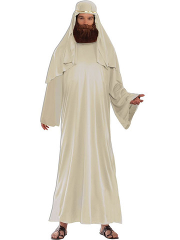 Men's Ivory Biblical Robe with Headdress Costume