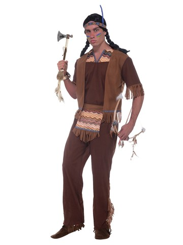 Mens Native American Brave Dark Brown Costume