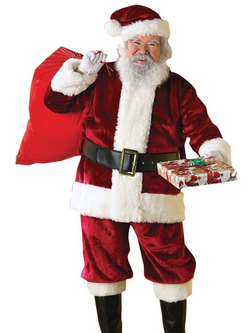 Mens Plus Size Crimson Regency Plush Santa Suit Costume