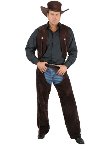 Mens Brown Suede Chaps & Vest