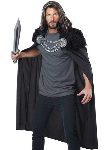 Mens Wolf Clan Warrior Cape Costume