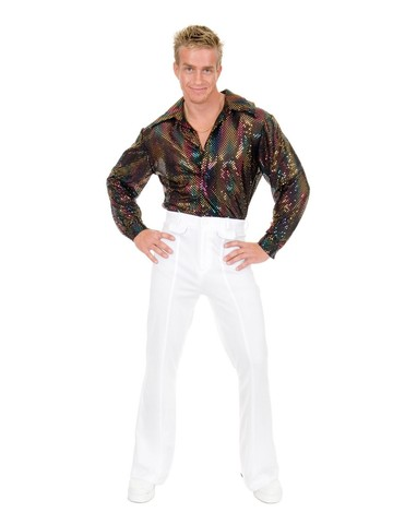 Flame Hologram Mens Disco Shirt (Gold)