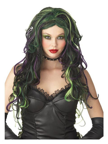 Multicolor Witch Black Purple And Green Wig Adult
