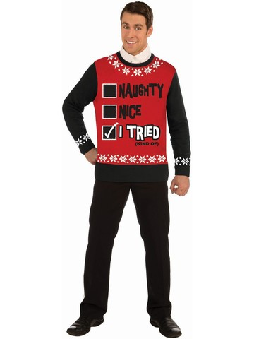 """Naughty Nice I Tried"" Christmas Sweater Costume"