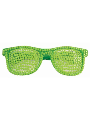 Neon Green Rhinestone Glasses