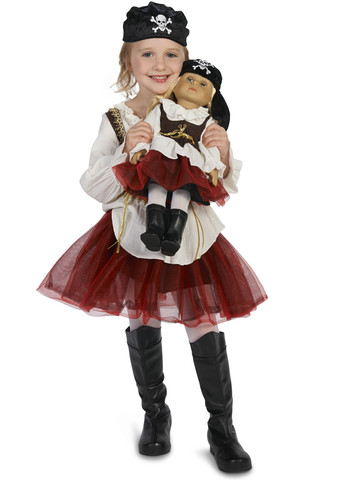 "Pirate Tutu Girl Child Costume M (8-10) with Matching 18"" Doll Costume"