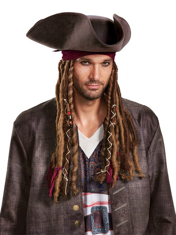 Adult Pirates of the Caribbean 5: Captain Jack Hat Bandana Dreads -