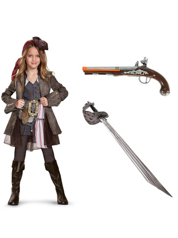 Pirates of the Carribean Captain Jack Girls Deluxe Costume Kit