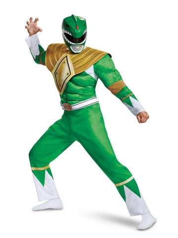 Mighty Morphin Power Rangers Classic Green Ranger Muscle Costume for Adults