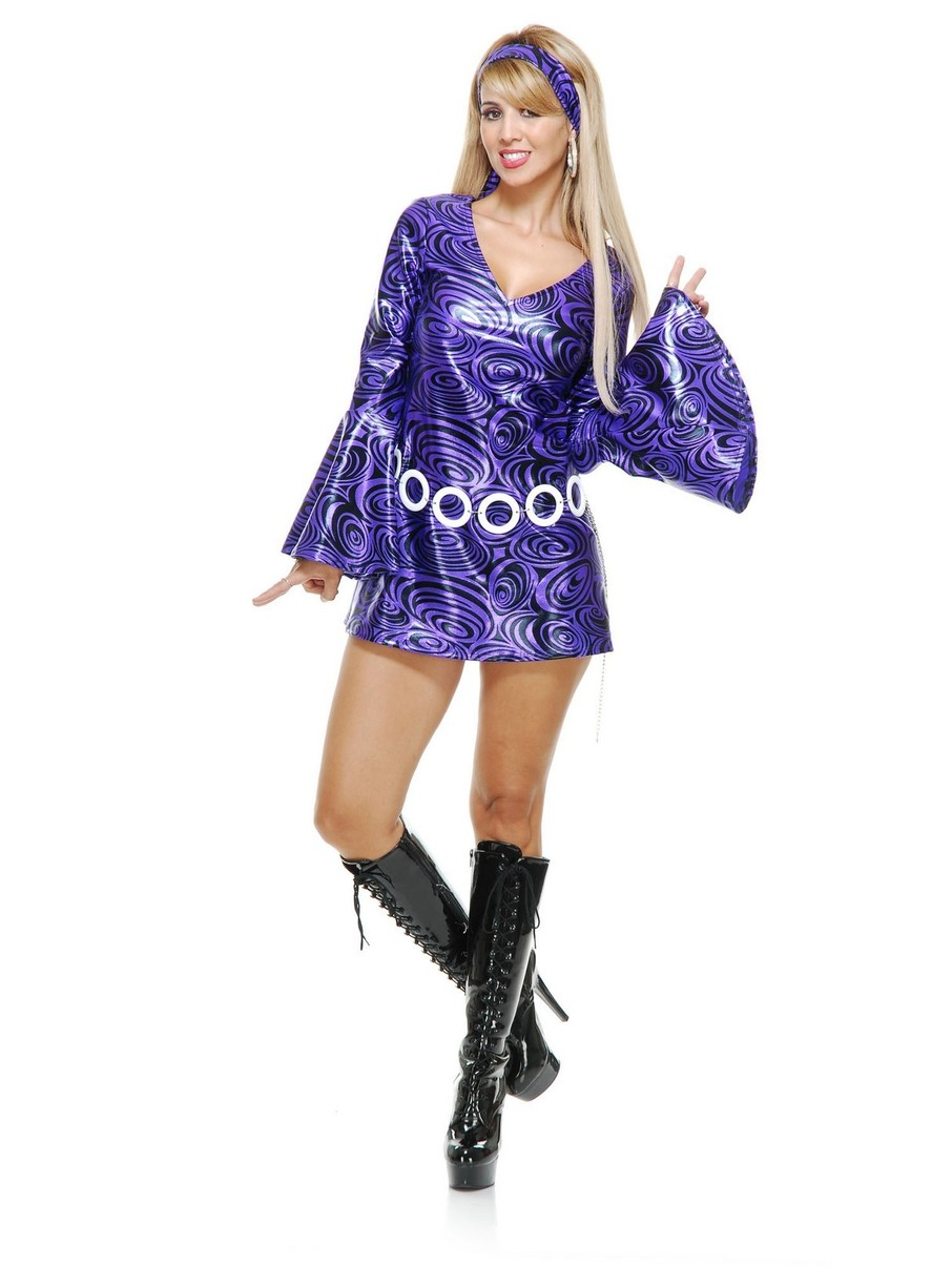 View larger image of Women's Purple Swirl Disco Diva Costume