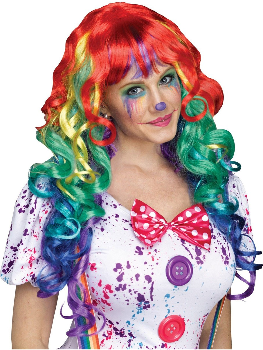 View larger image of Rainbow Clown Wig with Bangs